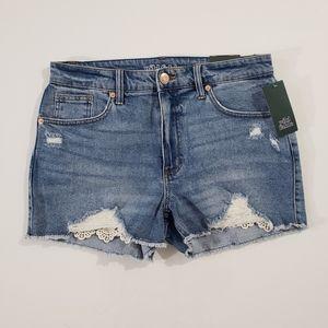 Wild Fable Peek-a-boo Crochet Distressed Shorts
